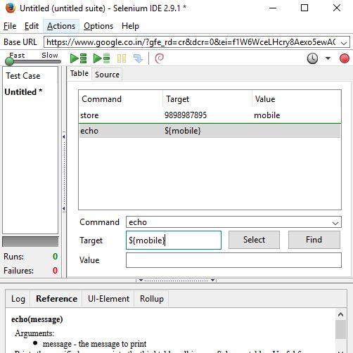 echo in command box in selenium ide