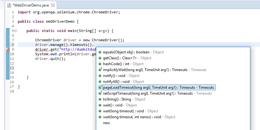 pageLoadTimeout method in Selenium