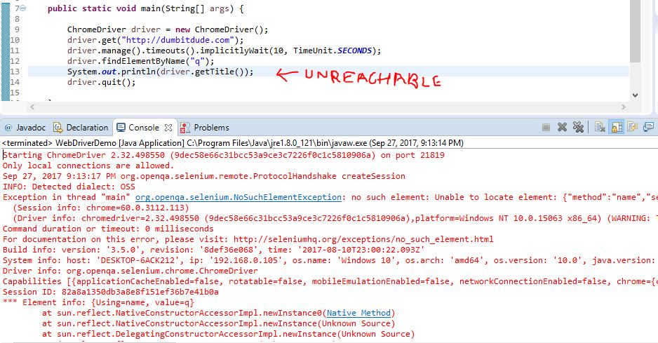 uncreachable code