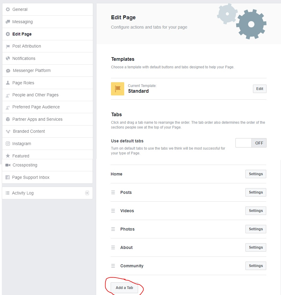add a tab option on Edit Page Settings Facebook