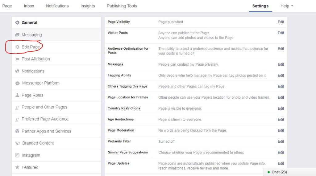 edit page option in page settings in facebook