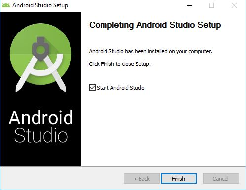 final window for setup of Android Studio