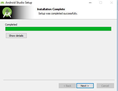 installation finishes for android studio