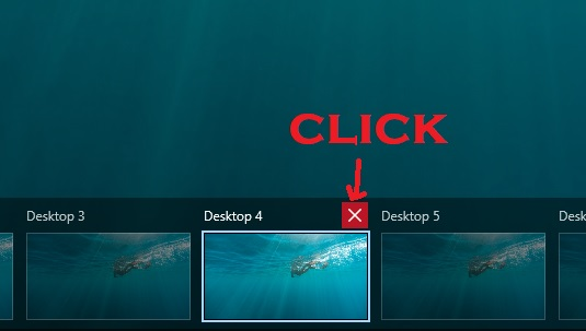 click on thumbnail's cross button
