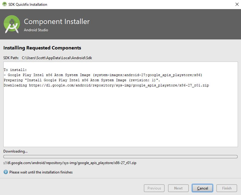 component installer downloading required image file in android studio