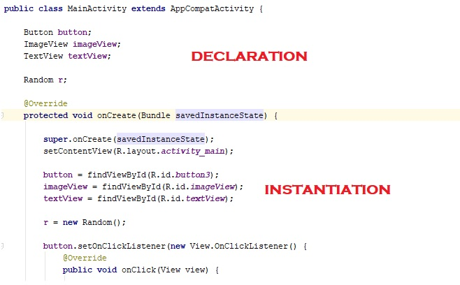 declaration and instantiation code