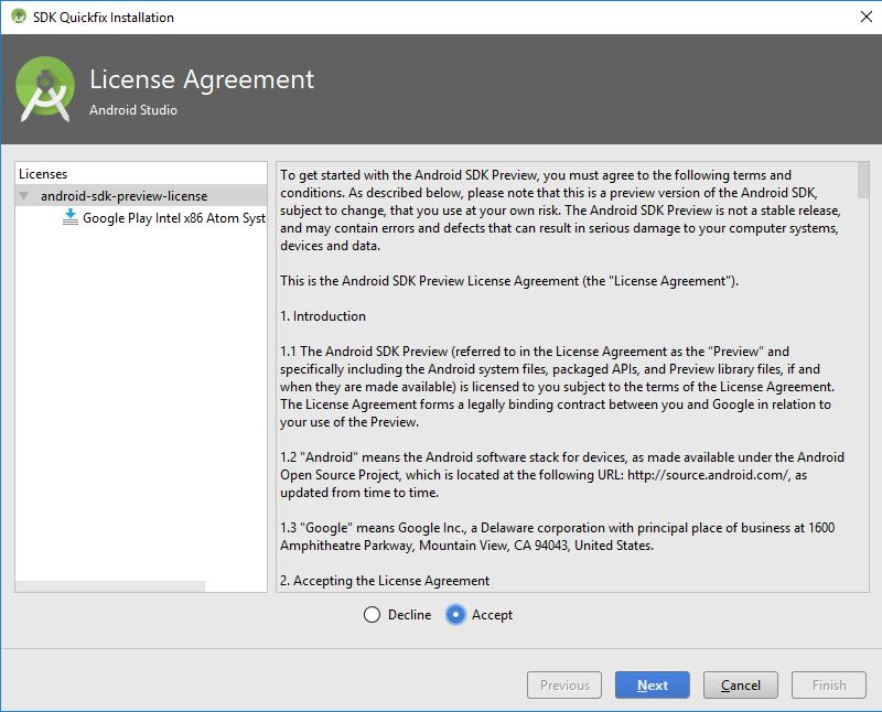 license agreement window in android studio