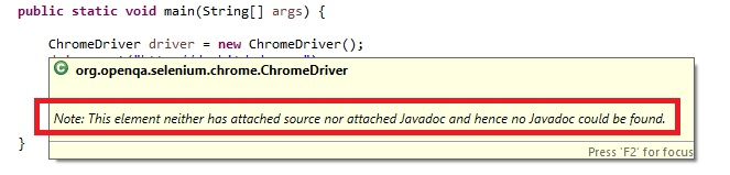 no javadoc message in Eclipse