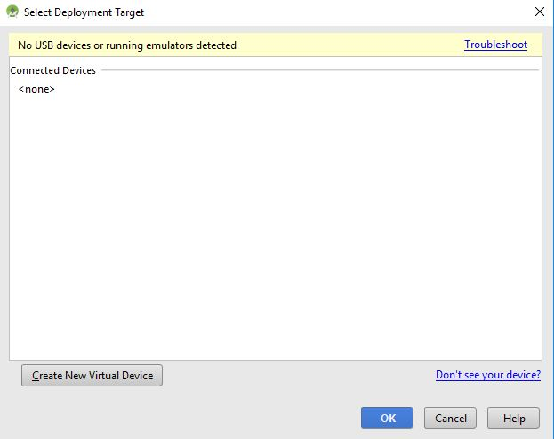 select deployment target window in android studio