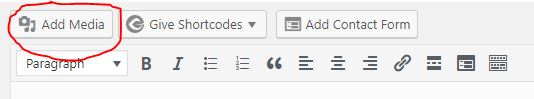add media button in wordpress editor