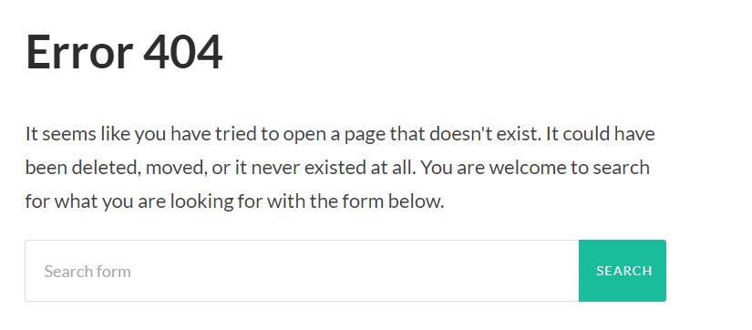 error 404 message
