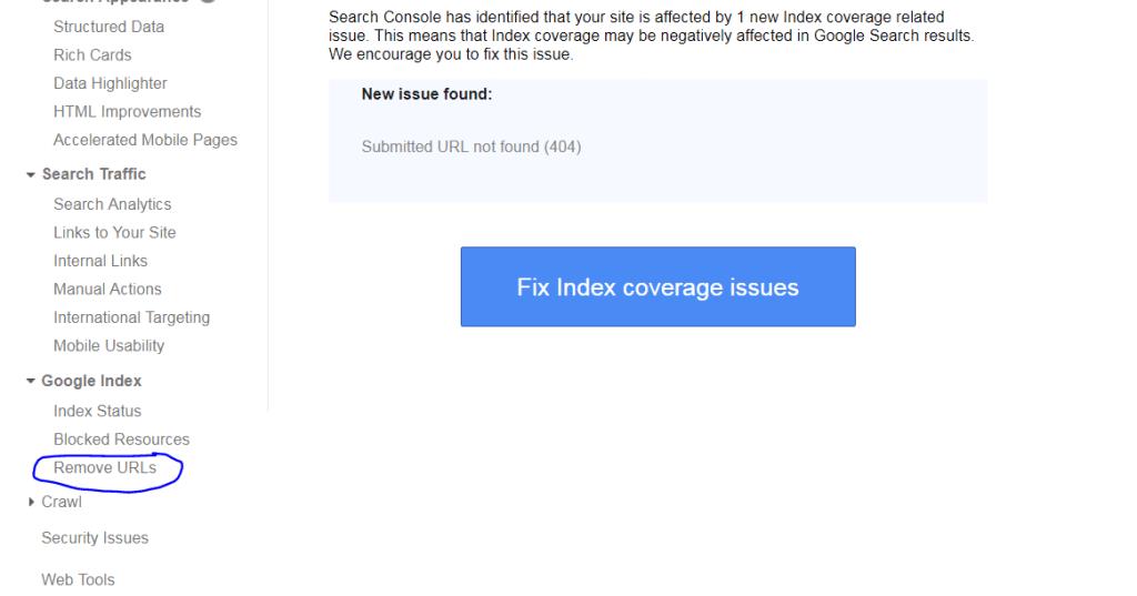 remove urls option in google search console dashboard