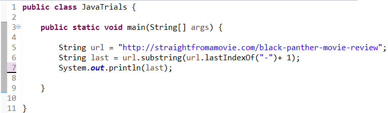 Full Code for How to Get the Last Word from a URL in Java