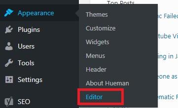 editor menu item in dashboard