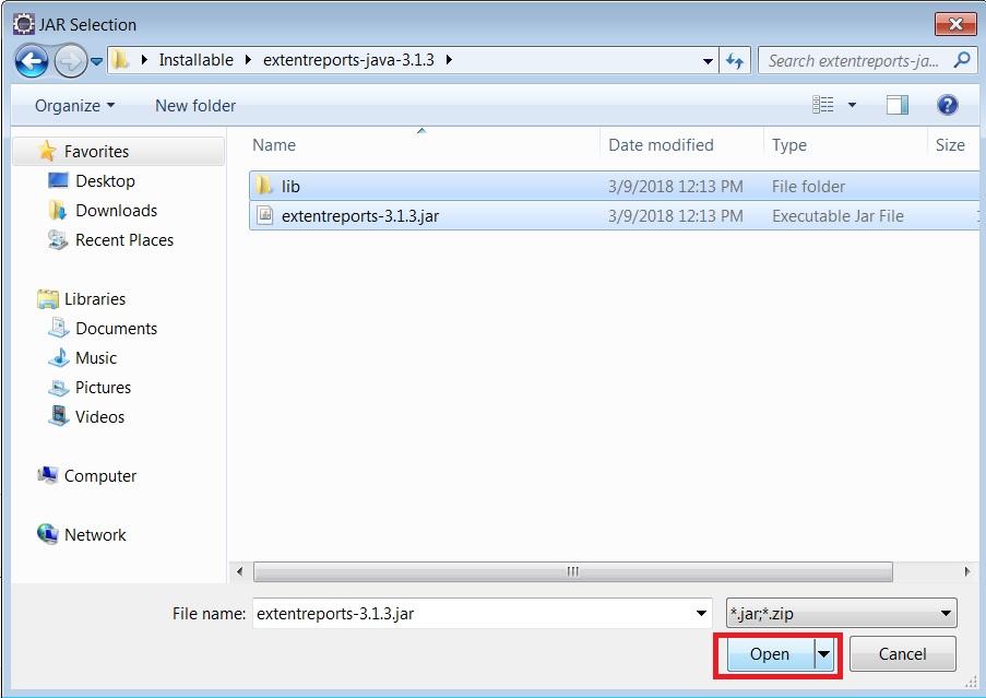extent reports jar files