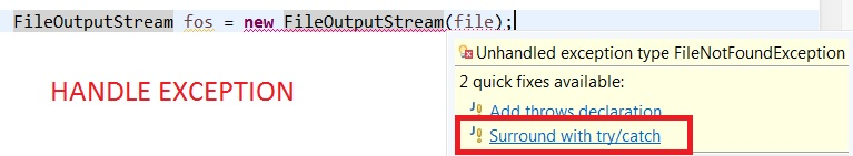handle output stream exception