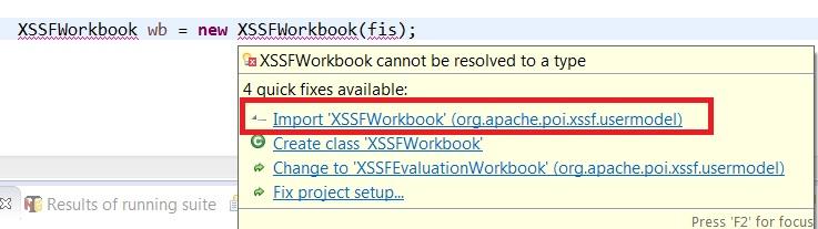 import XSSFWorkbook Class