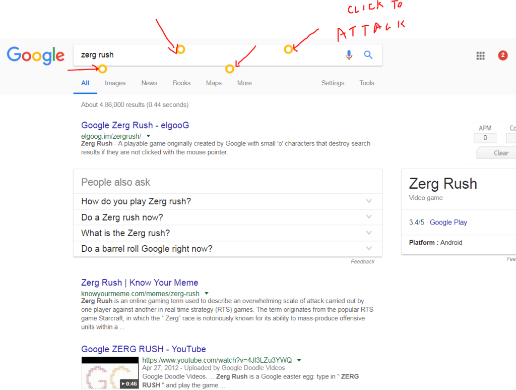 zergs yellow rings google page games