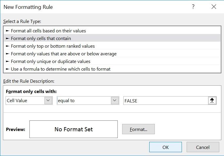 false new formatting rule