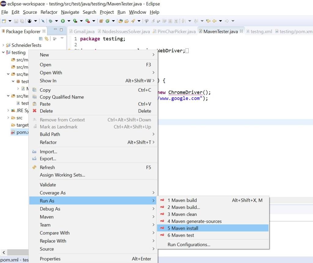 Maven install in run as pom.xml