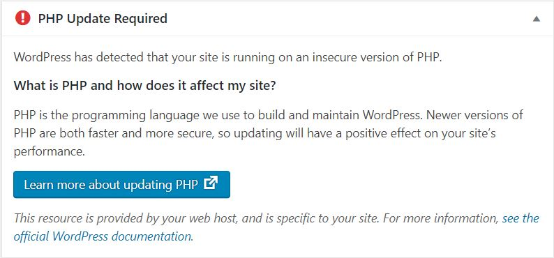 message for Php update required in wordpress