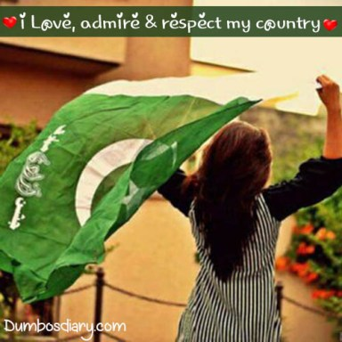 A girl under shadow of Pakistani flag