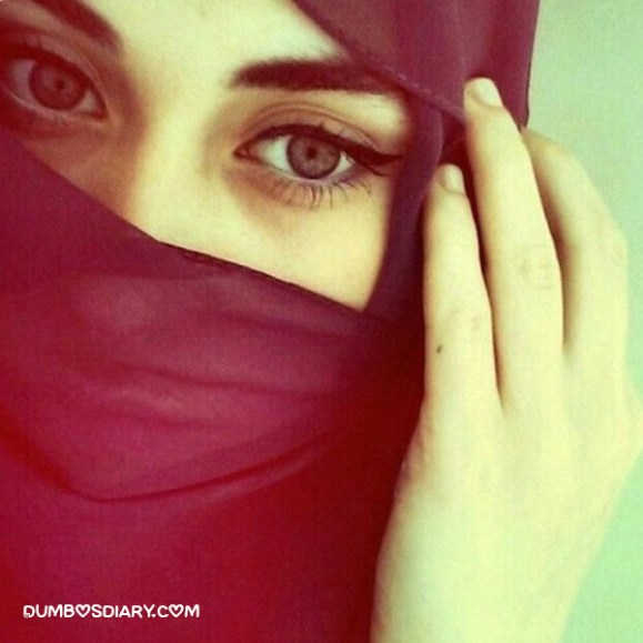 Beautiful eyes cute hijabi girl in black hijab