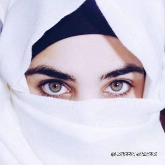Beautiful eyes hijabi muslim girl in white hijab