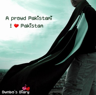 Boy with pakistani flag on independence day