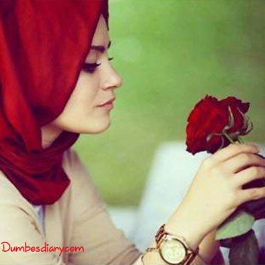 dp Muslim beautiful girls hijab with rose
