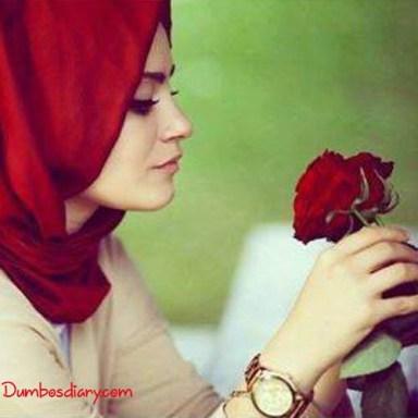 dp Muslim beautiful girls hijab with rose