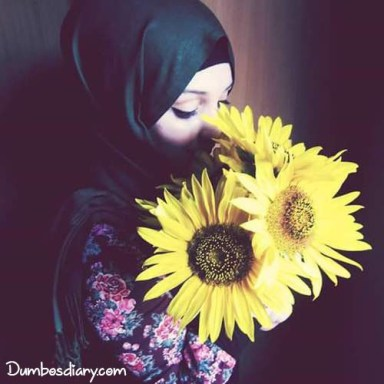 dp muslim hijab girl with sunflower