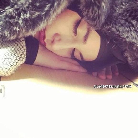 Pretty hijabi girl sleeping