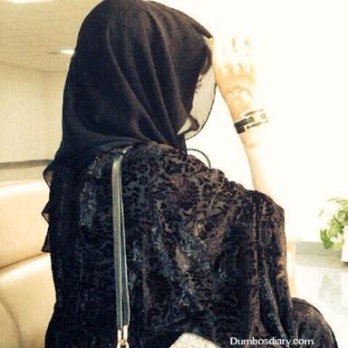 black abaya muslim girl dp