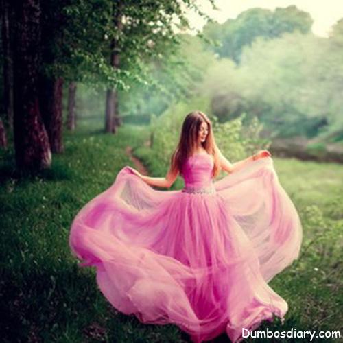 pink dress girl in garden