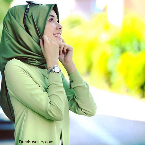 pretty green hijab girl dp