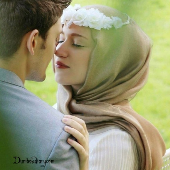 Cute Muslim couple in hijab