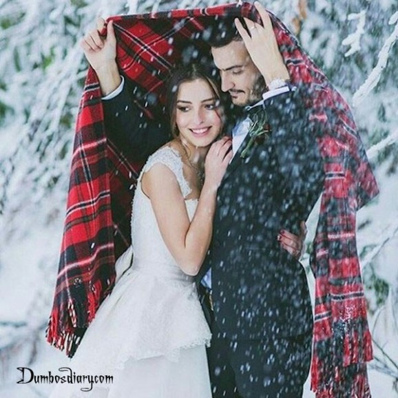 Cute couple in snow