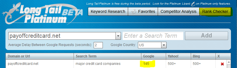 Long Tail Pro Rank Checker for PayOffCreditCard - Dumb Passive Income