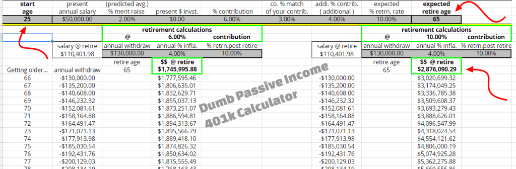401k Calculator from DumbPassiveIncome
