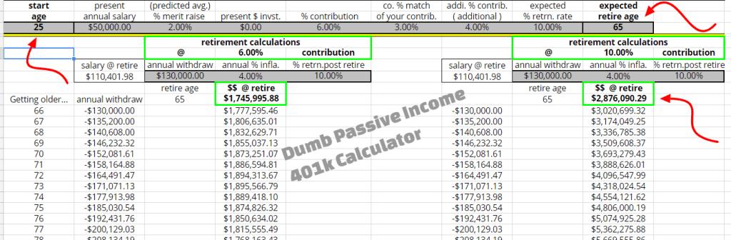 401k Calculator from DumbPassiveIncome