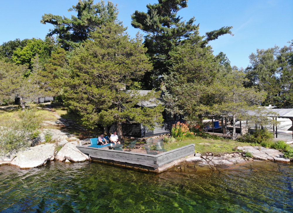 Dumfounder Island for sale - view of docks from the air
