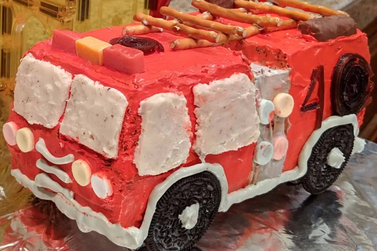 Fantastic Fire Truck Birthday Cake With Cool Whip Frosting Dummy In The Funny Birthday Cards Online Amentibdeldamsfinfo