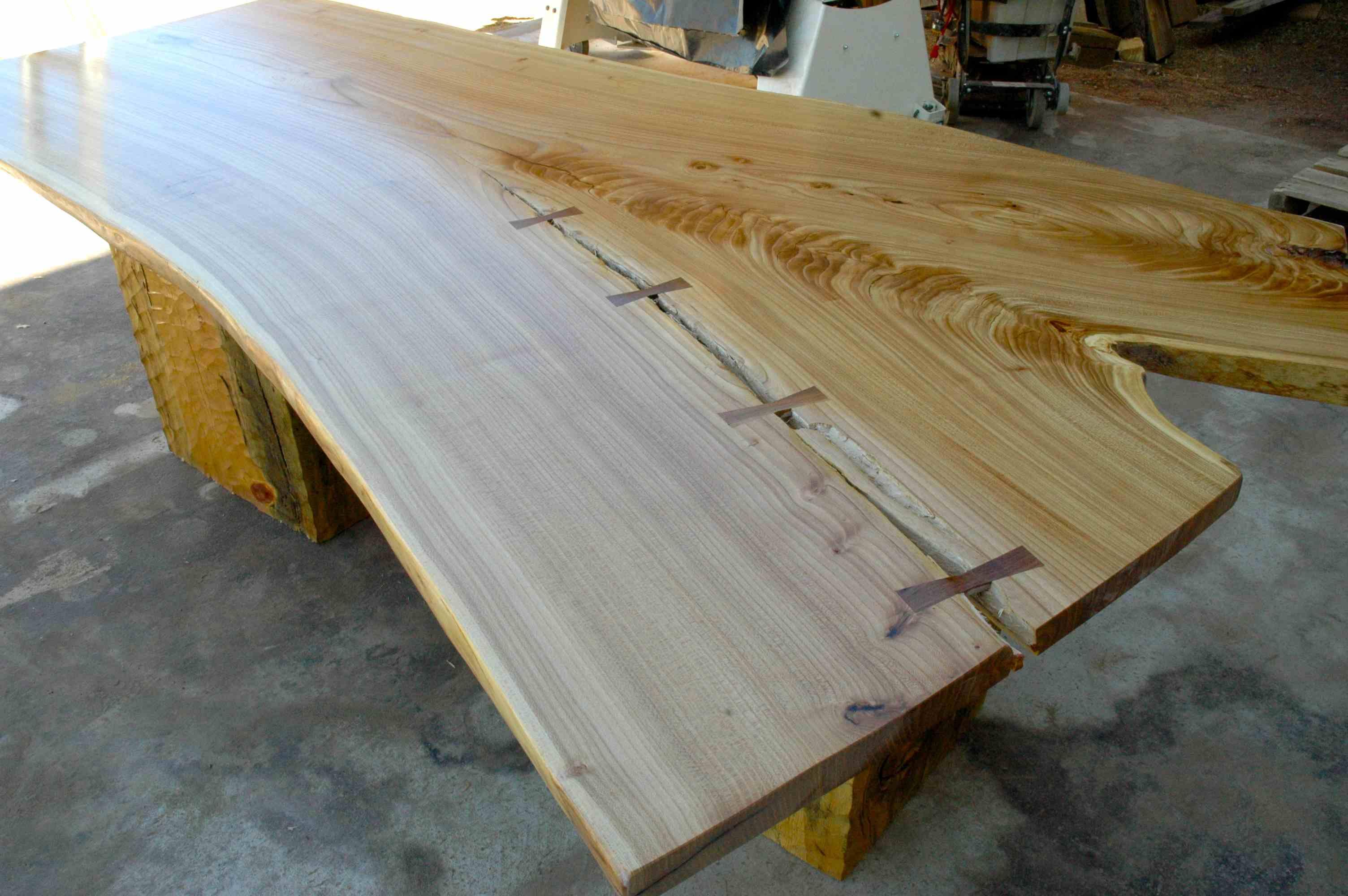 Rustic Siberian Elm Slab Custom Dining Table With Organic