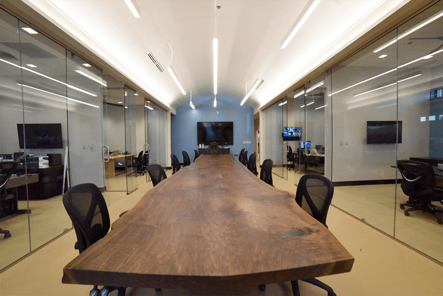 22 Foot Walnut Slab Custom Conference Table Dumonds