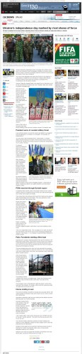 Ukraine's independence day marked by rival shows of force [archived v3] Thomson Reuters Posted: Aug 24, 2014 9:21 AM ET Last Updated: Aug 24, 2014 2:41 PM ET