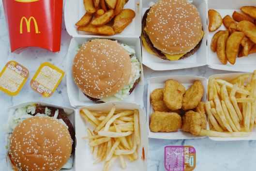 tasty junk food placed on table