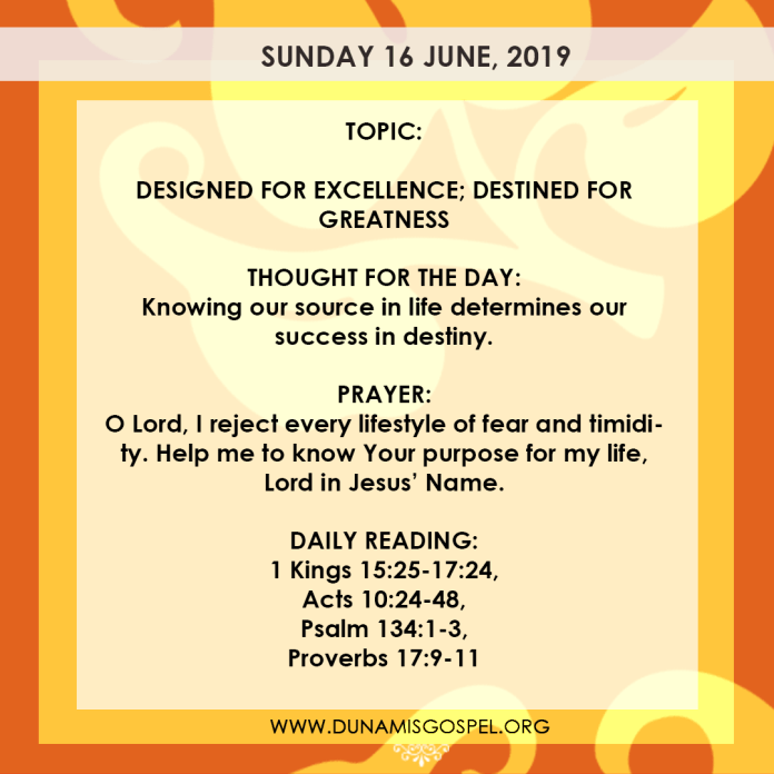Seeds of Destiny 16 June, Seeds of Destiny 16 June 2019 – Designed For Excellence, Destined For Greatness