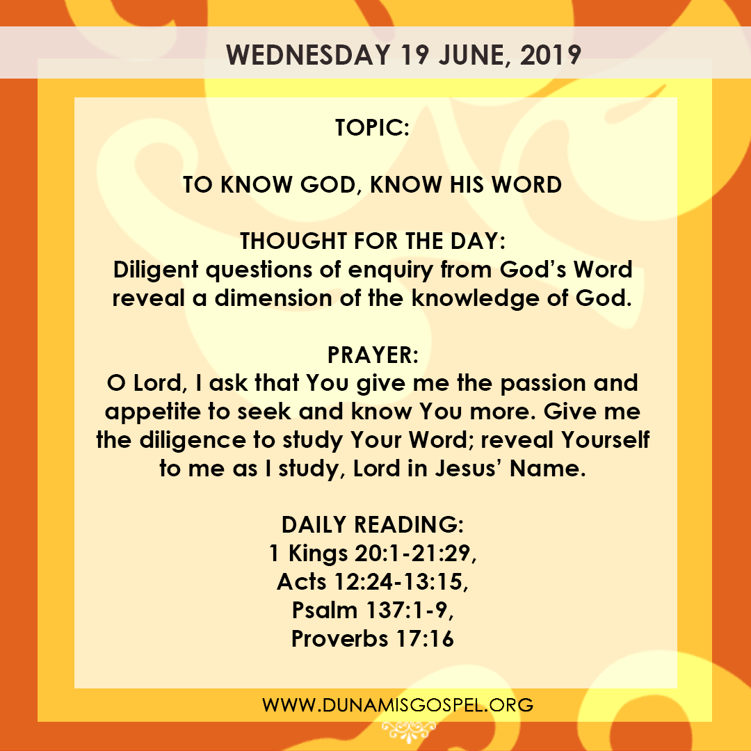 Seeds of Destiny 19 June, Seeds of Destiny 19 June 2019 – To Know God, Know His Word
