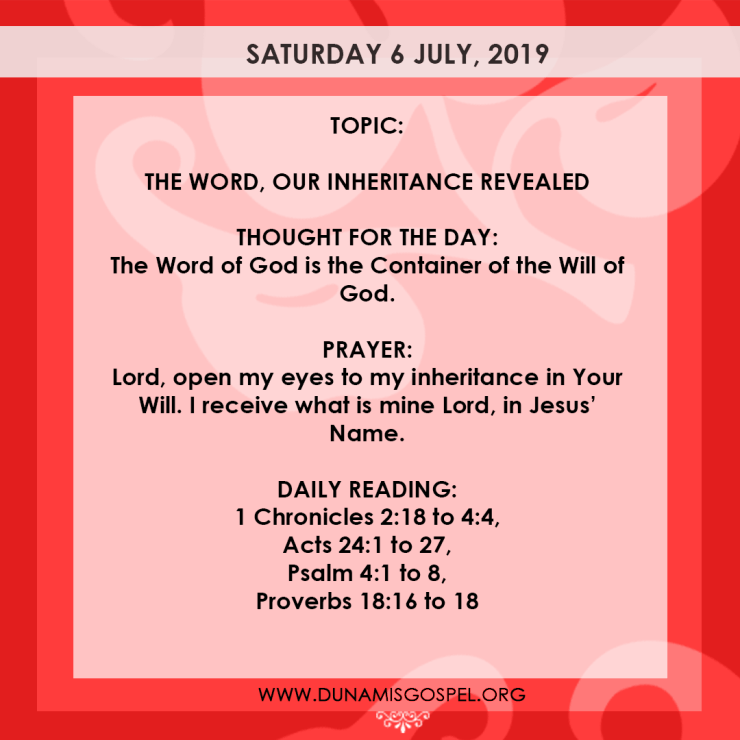 Seeds of Destiny 6 July 2019 - The Word, Our Inheritance Revealed